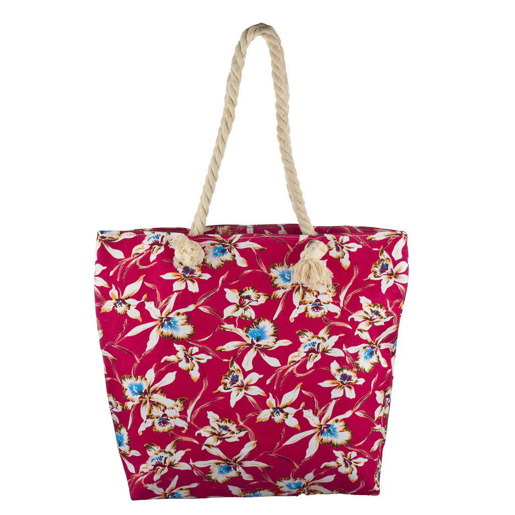 Accessories Womens Zip Up Beach Bag Red Floral