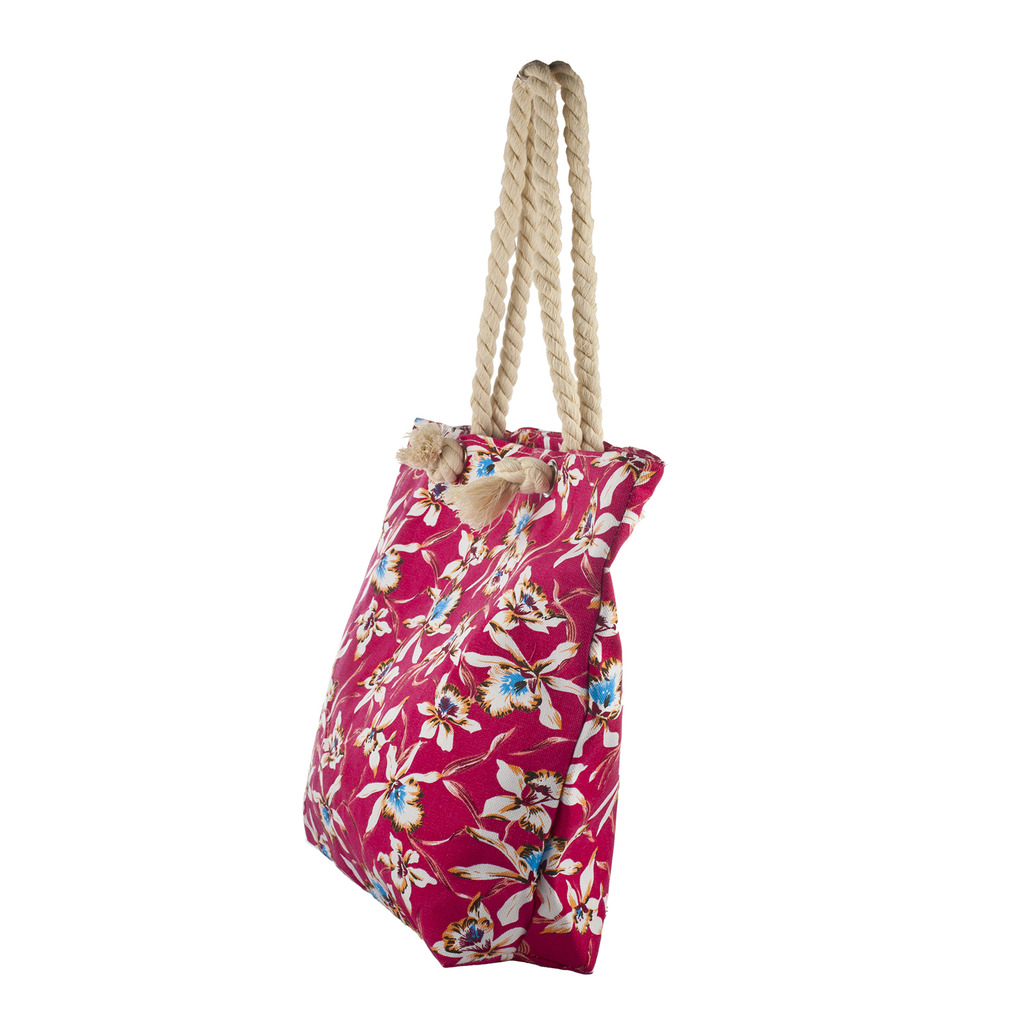 Lux Accessories Womens Zip Up Beach Bag Red Floral