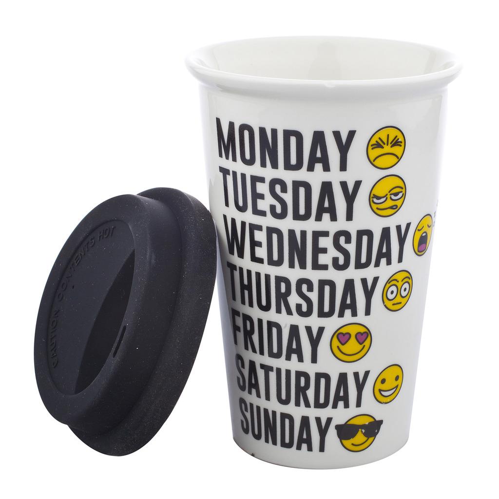 Black and White Days of the Week Emojis Travel Coffee Mug Cup