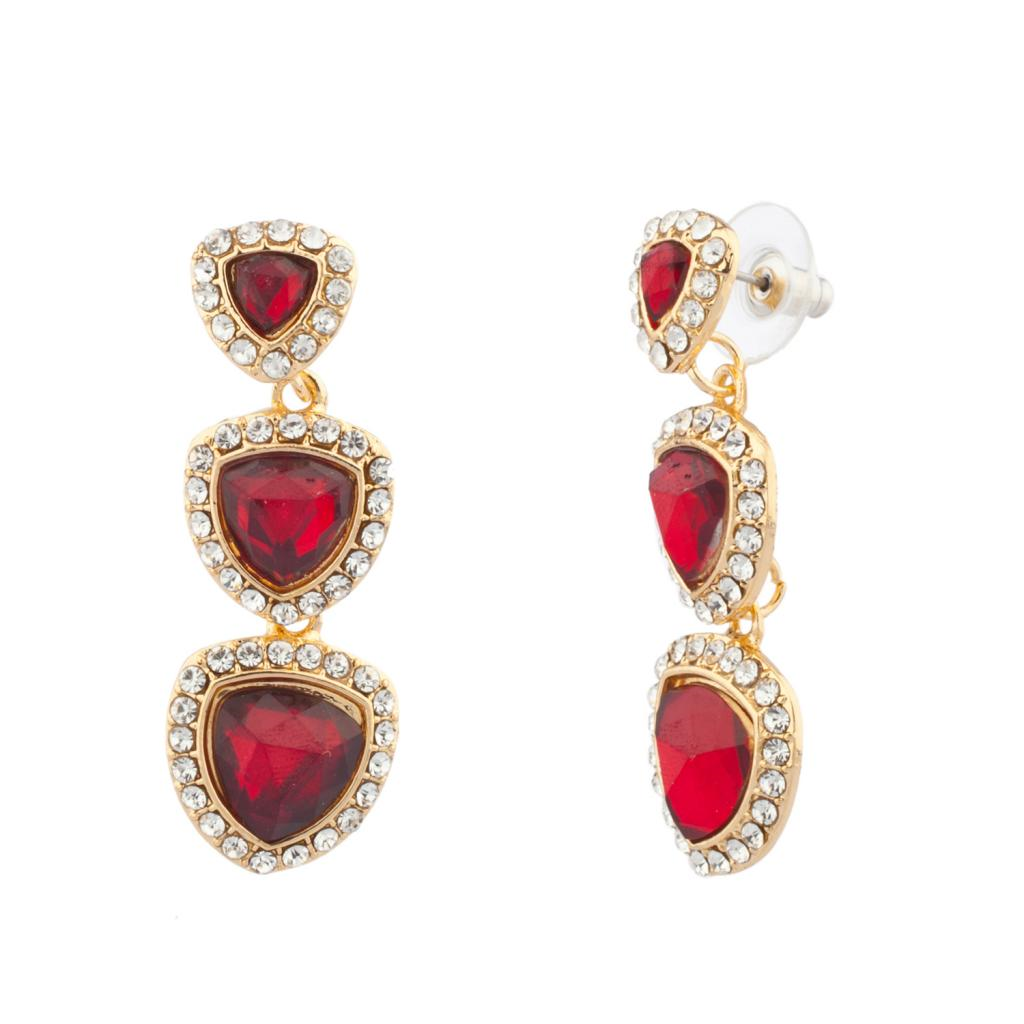 3 8 Red Stone : Red stone tier pave dangle earrings
