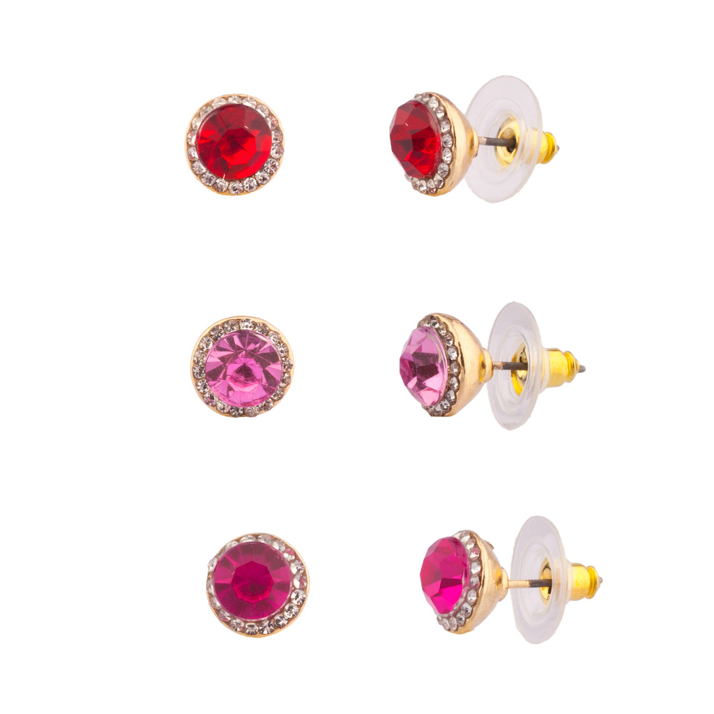 Crystal Pave Red Pink Purple Stud Earrings Women\'s Girls & Kids ...