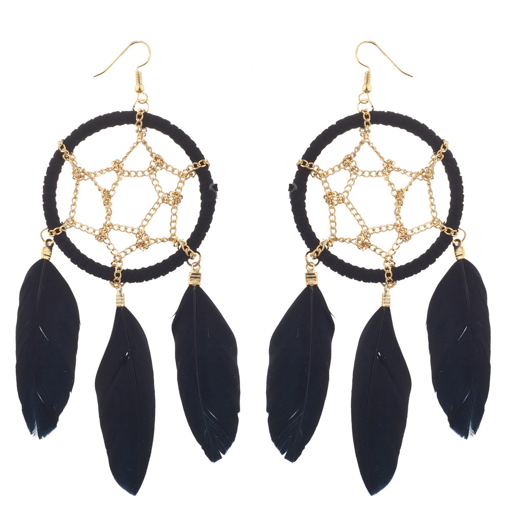 Tribal Boho Black And Gold Tone Feather Dreamcatcher Earrings