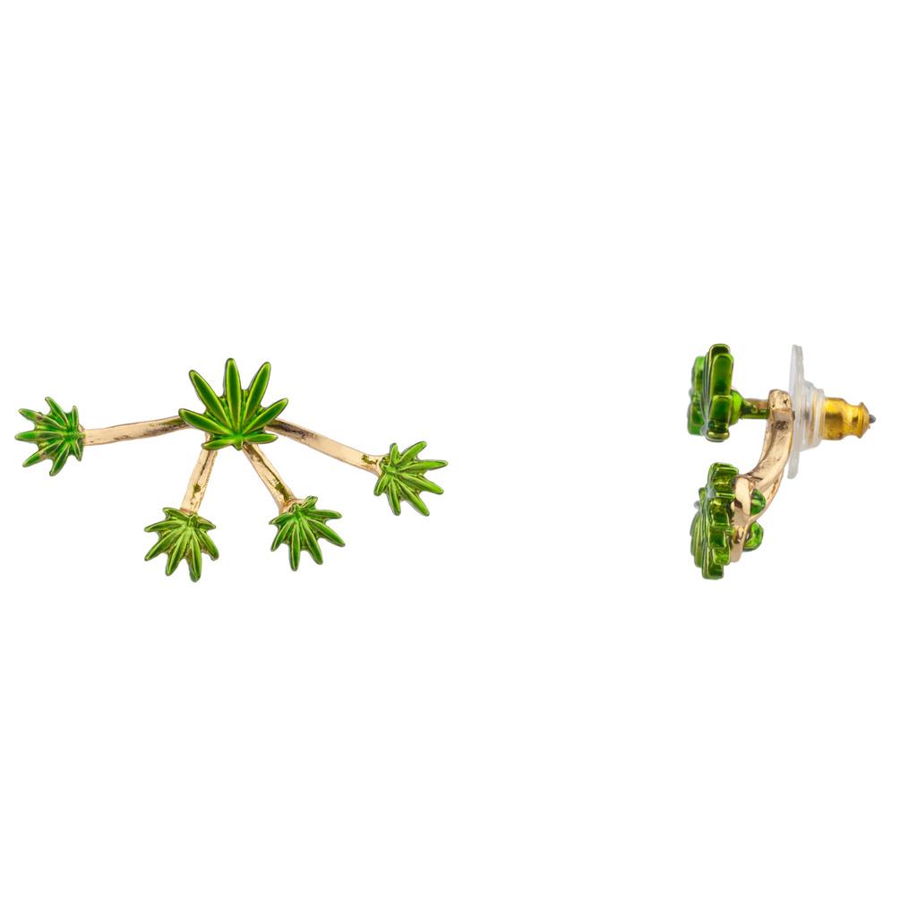 Marijuana Weed 420 Pot Leaf Suspension Stud Earrings