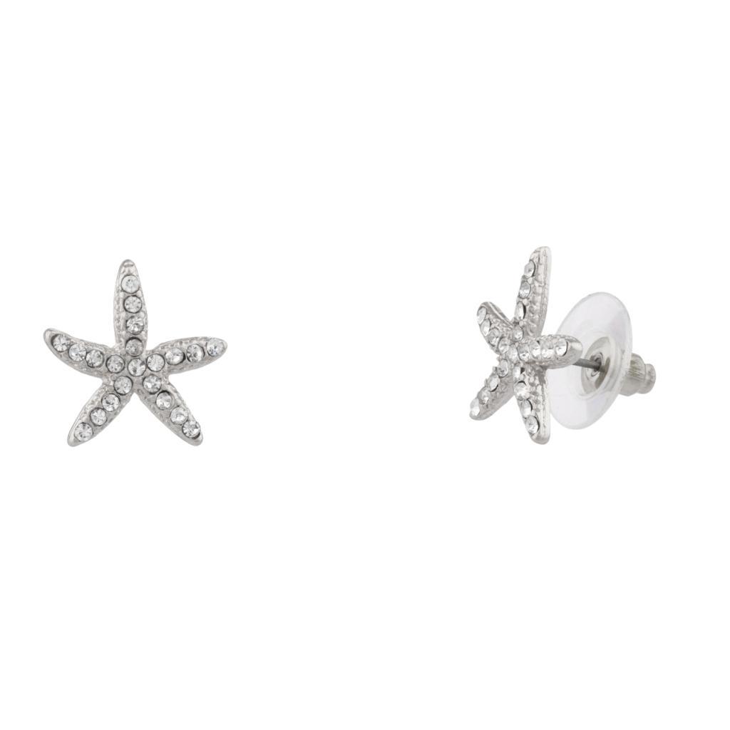 Womens Kids S Pave Starfish Stud Earrings