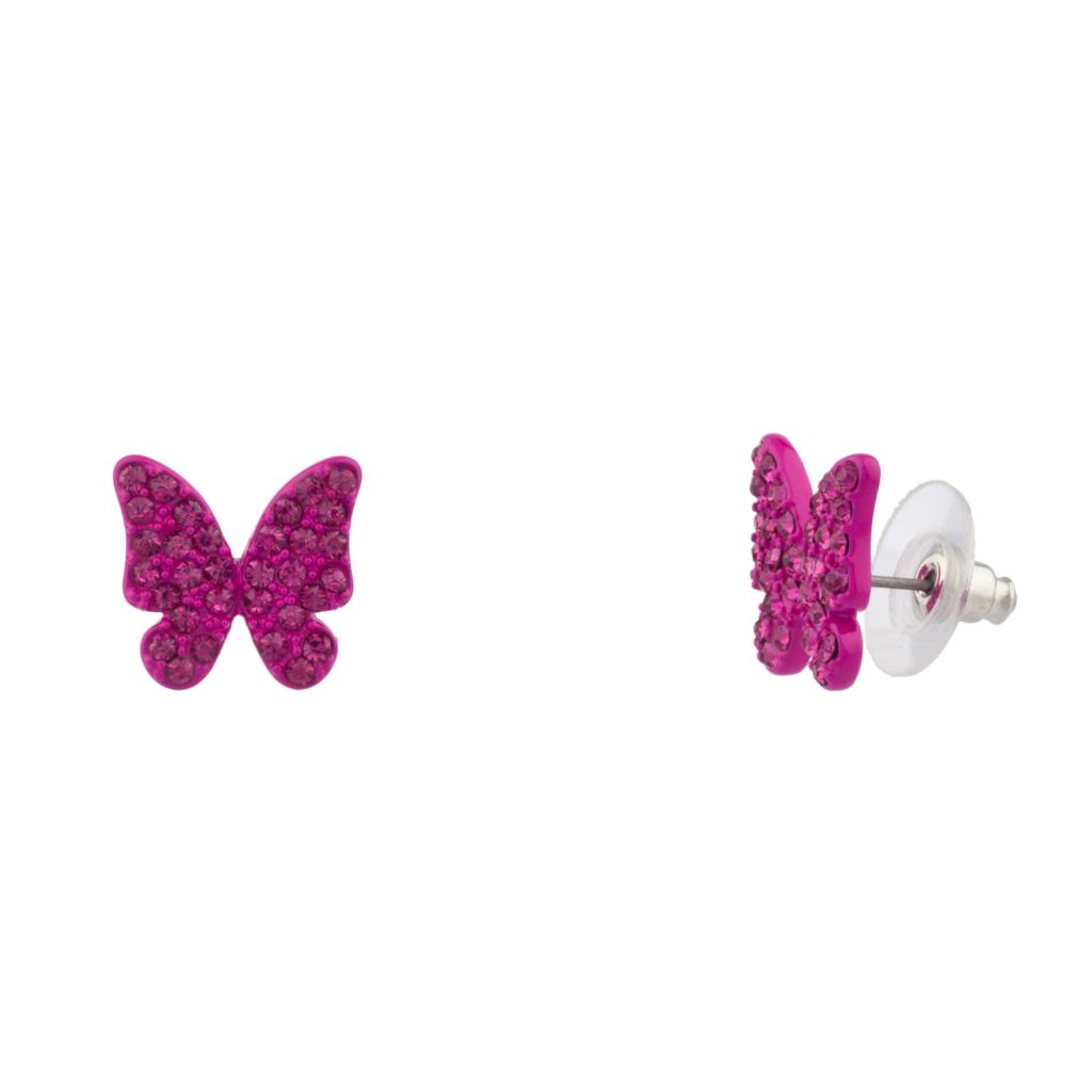 womens kids girls purple pave butterfly stud earrings earrings