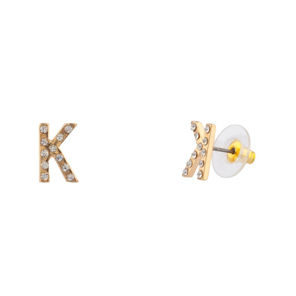 Letter K Initial Pave Stud Earrings
