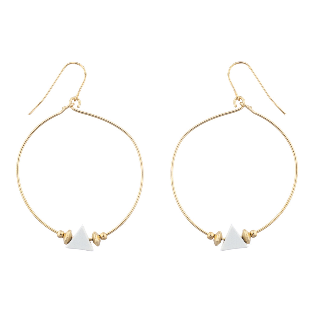 Gold Tone and White Enamel Triangle Geo Wire Hoop Earrings - Earrings