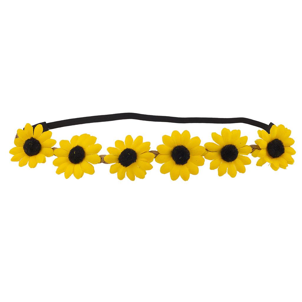 Yellow Braided Flower Crown Flower Stretch Headband Hair Accessories