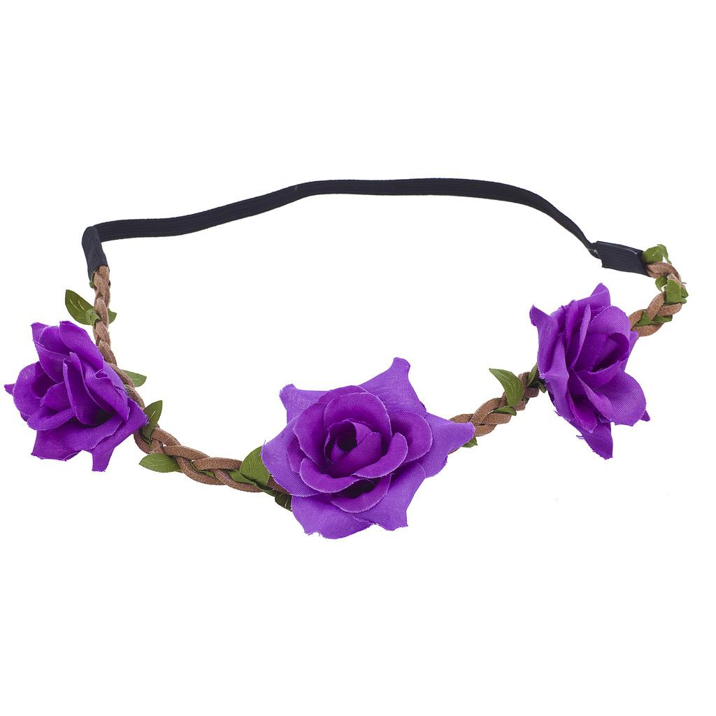 Purple Flower Crown Green Leaf Brown Suede Braid Headband