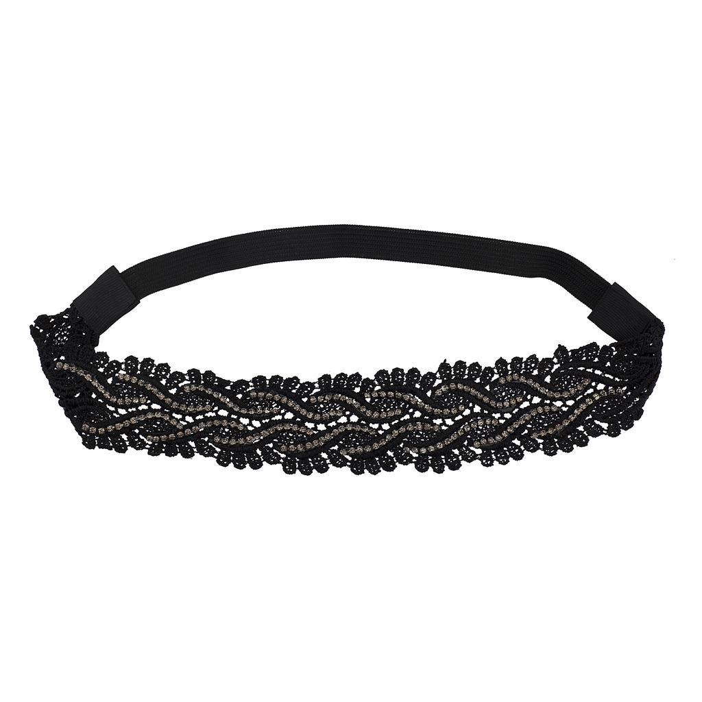 Black Lace Applique Black Diamond Headwrap Stretch Headband - Hair ... b59a0634472