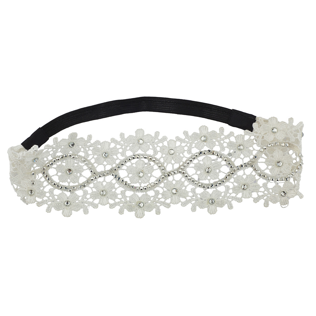 White Flower Lace With Crystal Stones Heap Wrap Stretch Headband