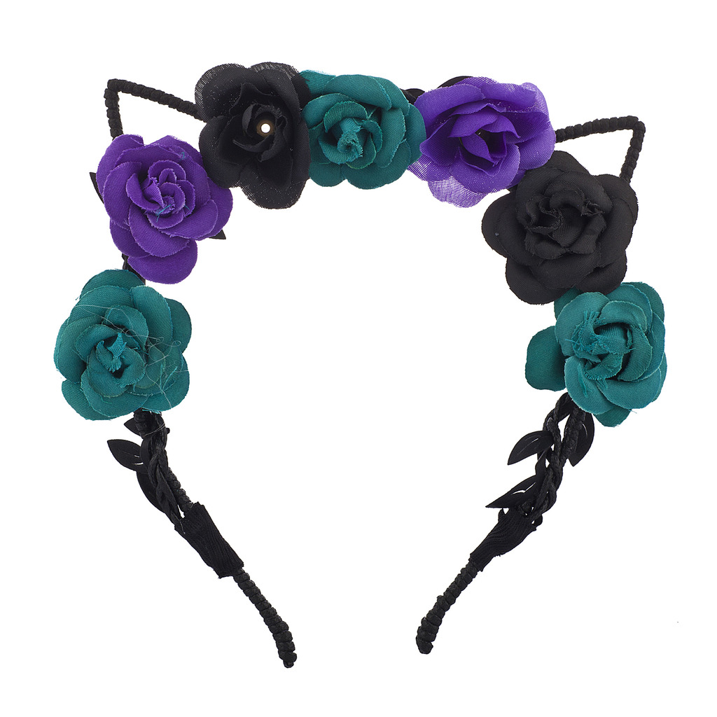 Coachella Black Purple Teal Cat Ear Fabric Flower Crown Headband