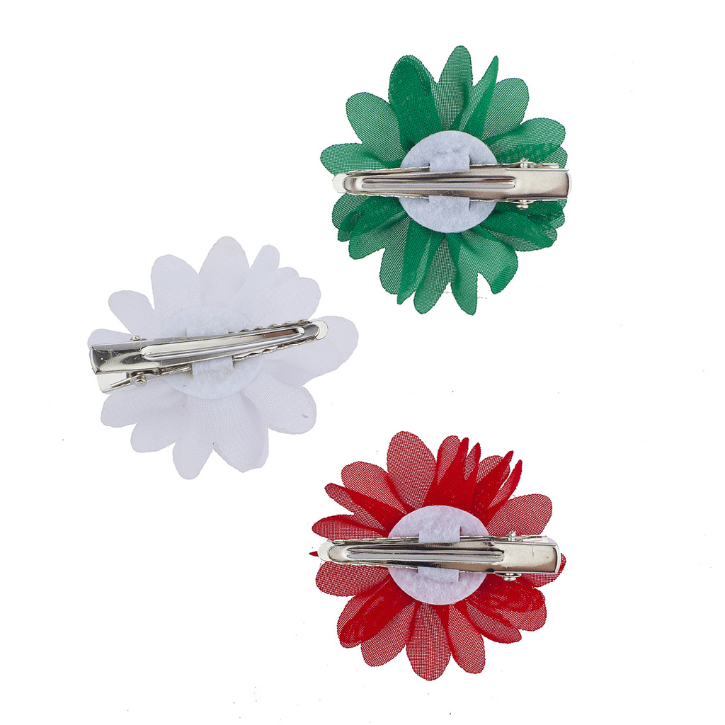 Christmas Red White Green Pearl Flower Hair Clips 3pc Hair Accessories