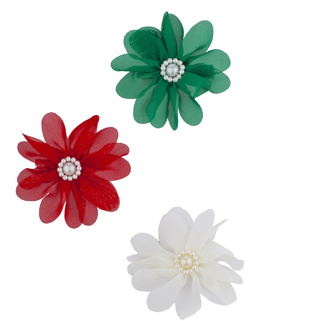 Christmas Red White Green Crystal Flower Hair Clips 3pcs Hair