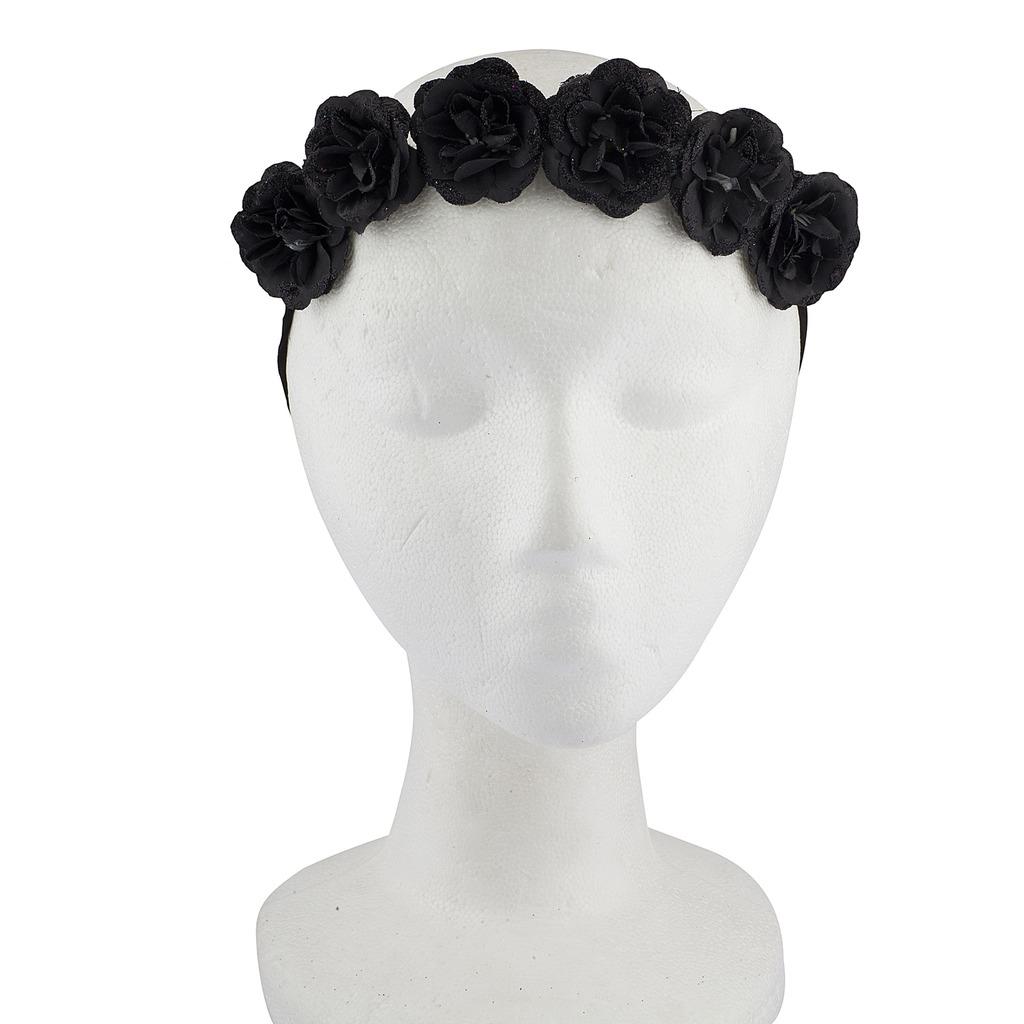 Black Flower Crown Gothic Flower Crown Black Flower: Black Gothic Goth Faux Suede Floral Flower Crown Wreath