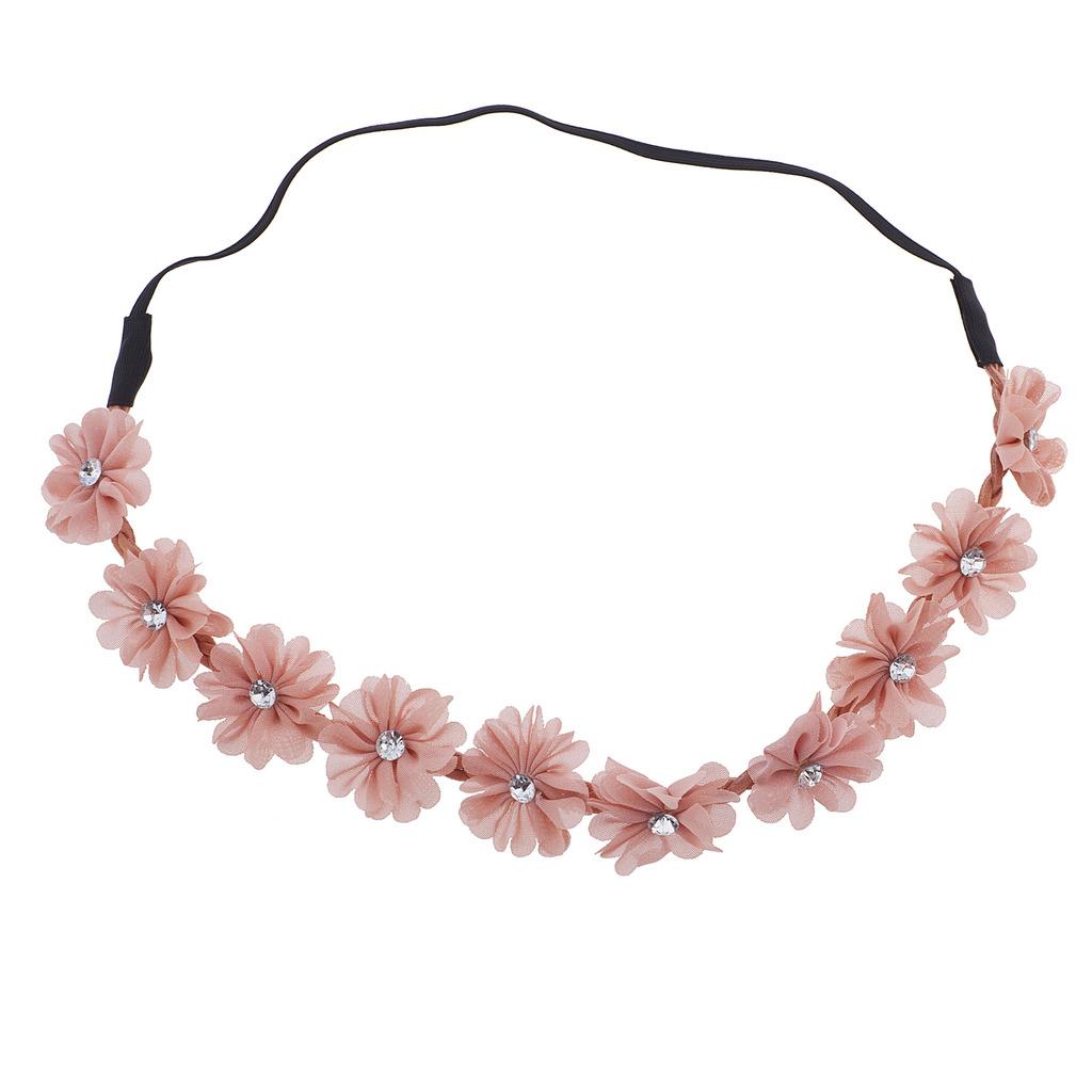 Pink chiffon rhinestone flower crown floral headband headwrap izmirmasajfo