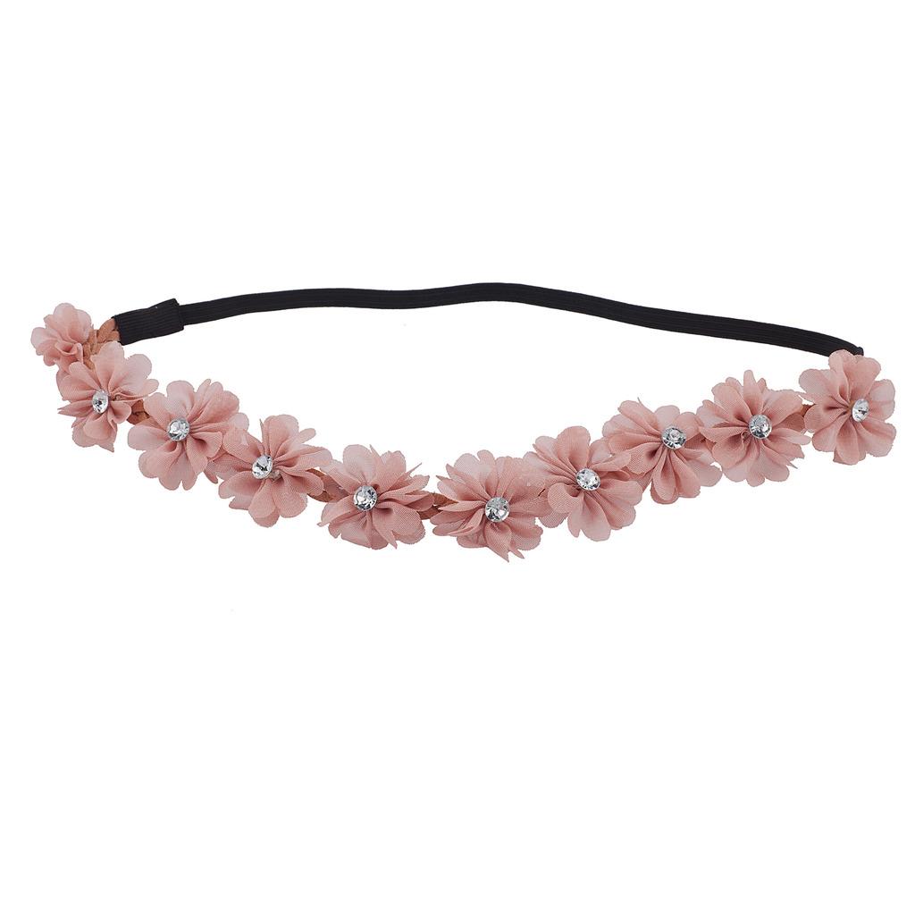 Blush chiffon rhinestone flower crown floral headband headwrap izmirmasajfo