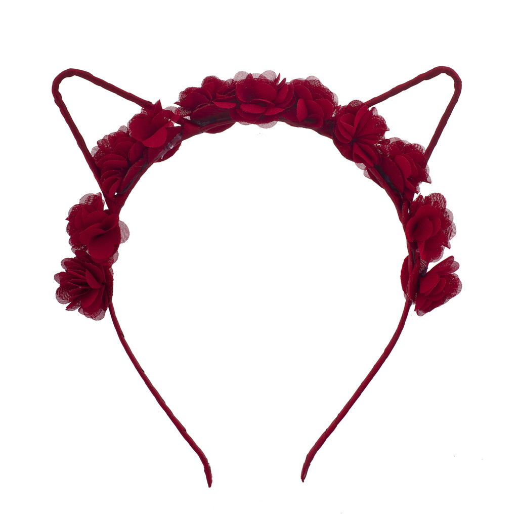 Coachella Red Rose Cat Ear Fabric Flower Crown Headband