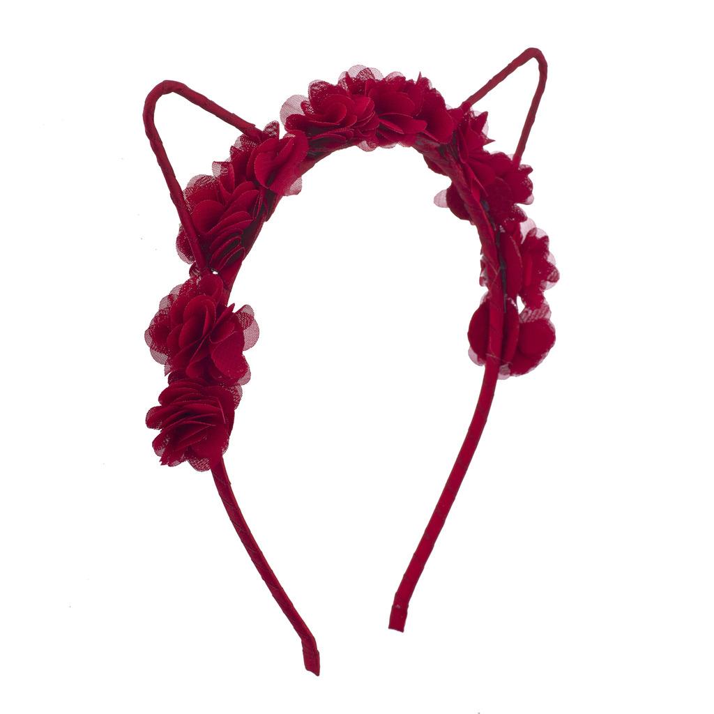 Coachella red rose cat ear fabric flower crown headband hair coachella red rose cat ear fabric flower crown headband izmirmasajfo