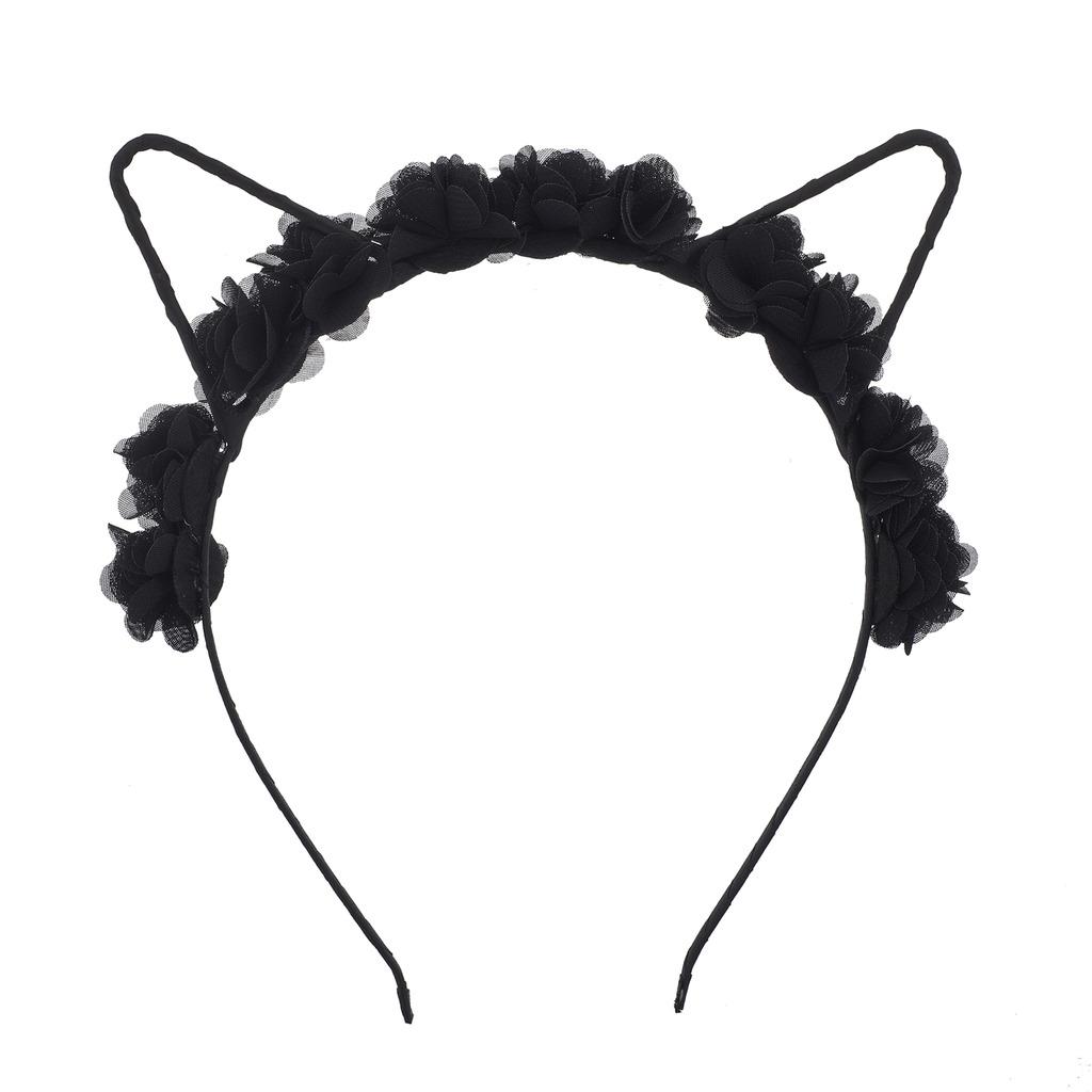 Coachella Black Rose Cat Ear Fabric Flower Crown Headband