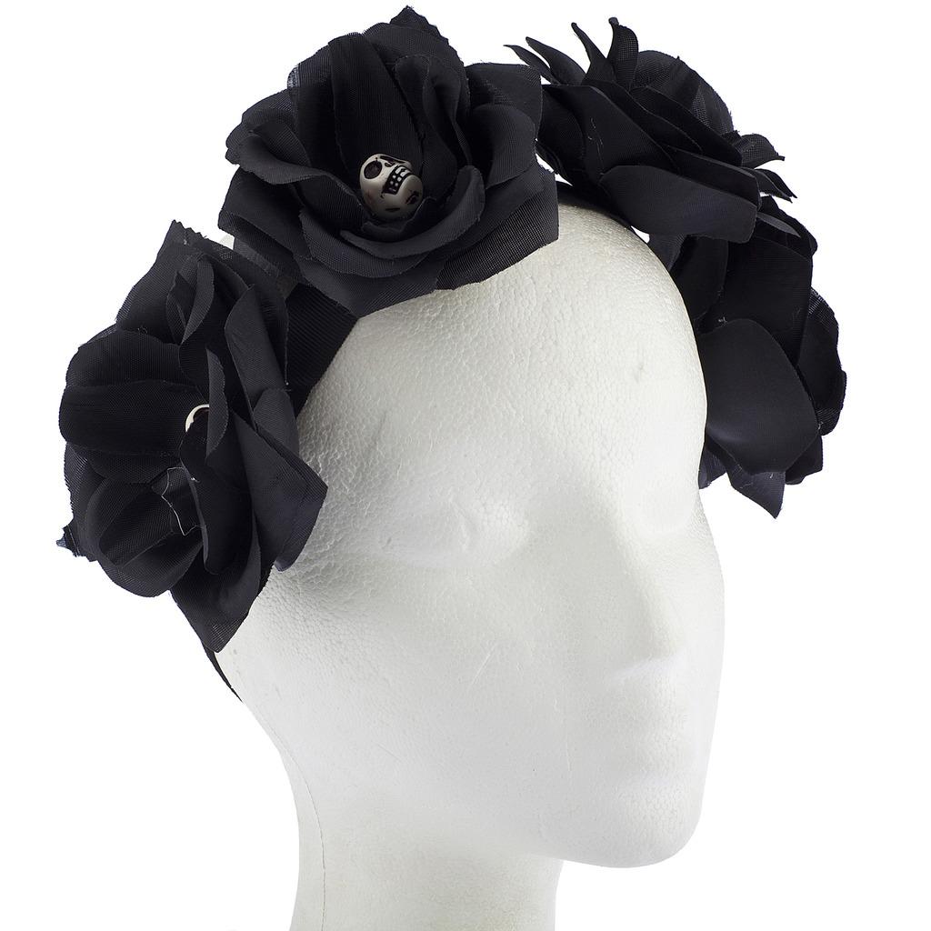 Black Flower Crown Gothic Flower Crown Black Flower: Black Gothic Skull Skeleton Head Halloween Flower Crown
