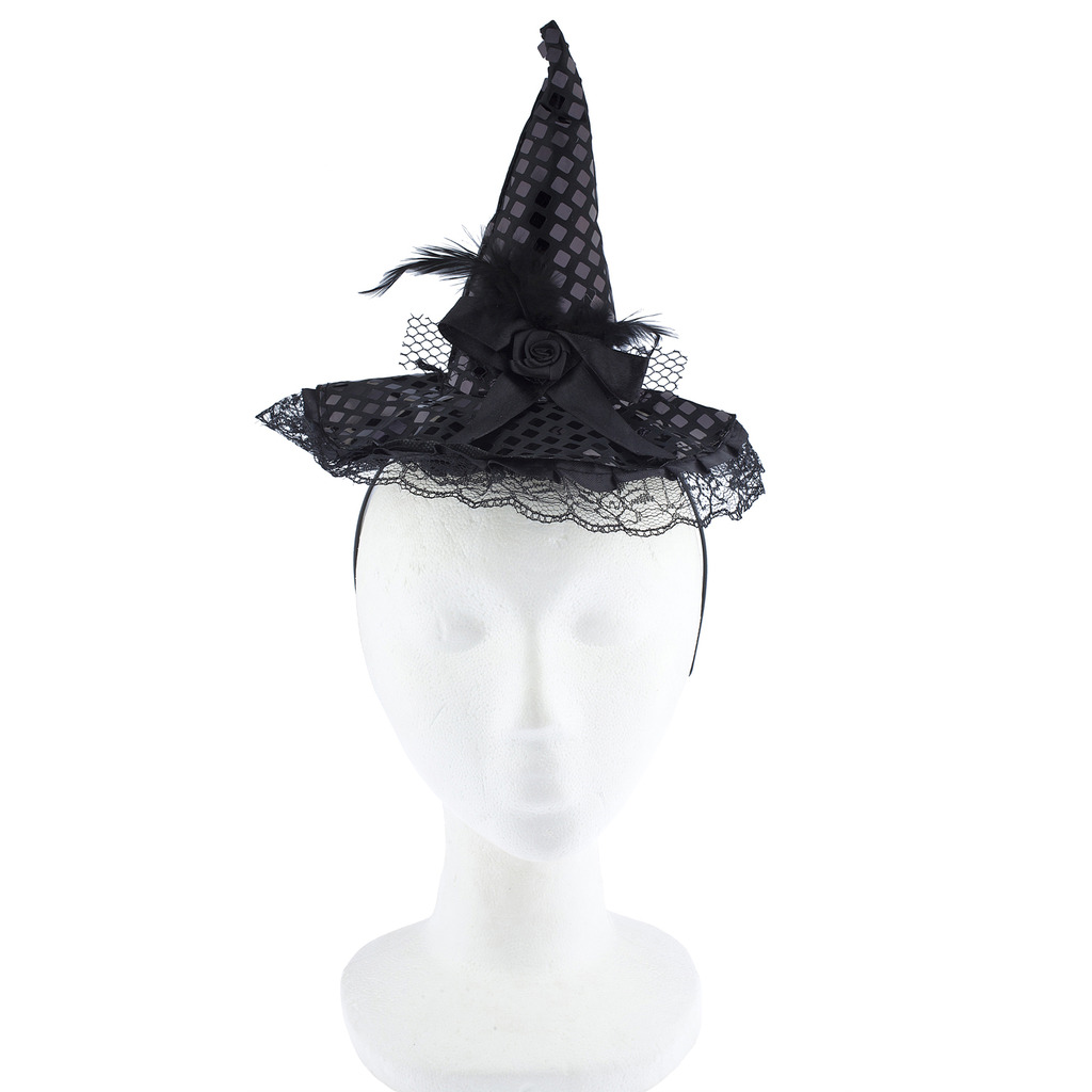 Black//Purple or Black Halloween Accessory Witch Hat Headband
