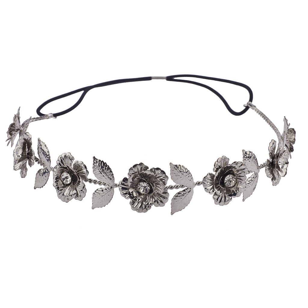 Hematite metal floral flower hair crown stretch headwrap izmirmasajfo
