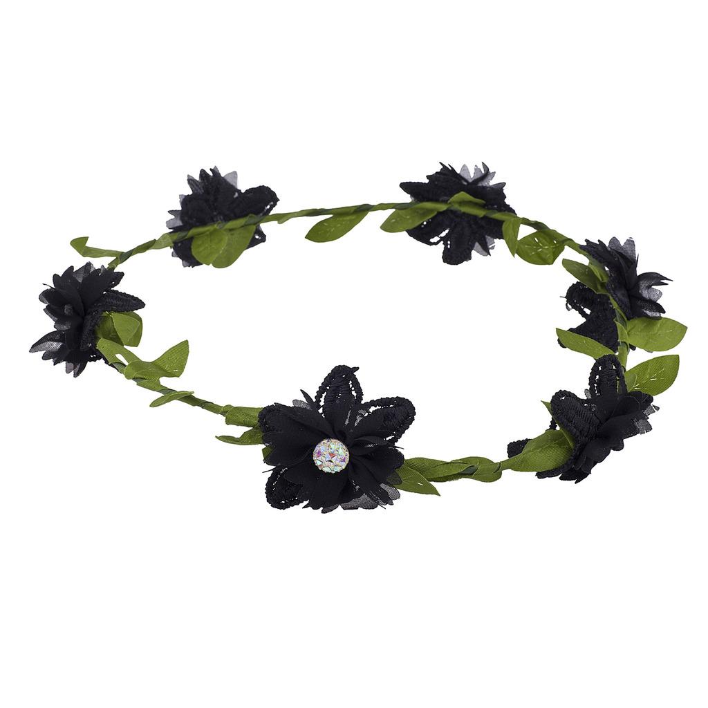 Girls Black Flower Girl Bridal Coachella Flower Crown Headband