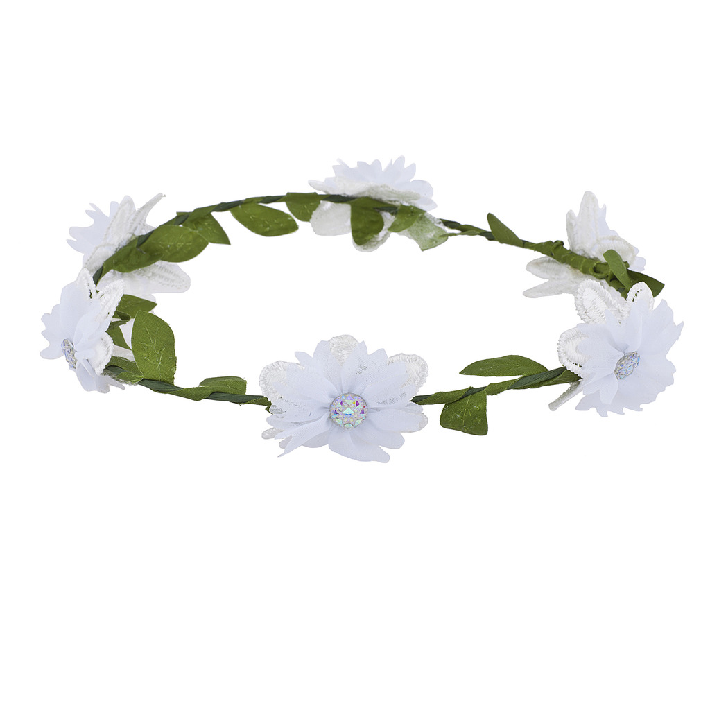 Girls White Flower Girl Bridal Coachella Flower Crown Headband