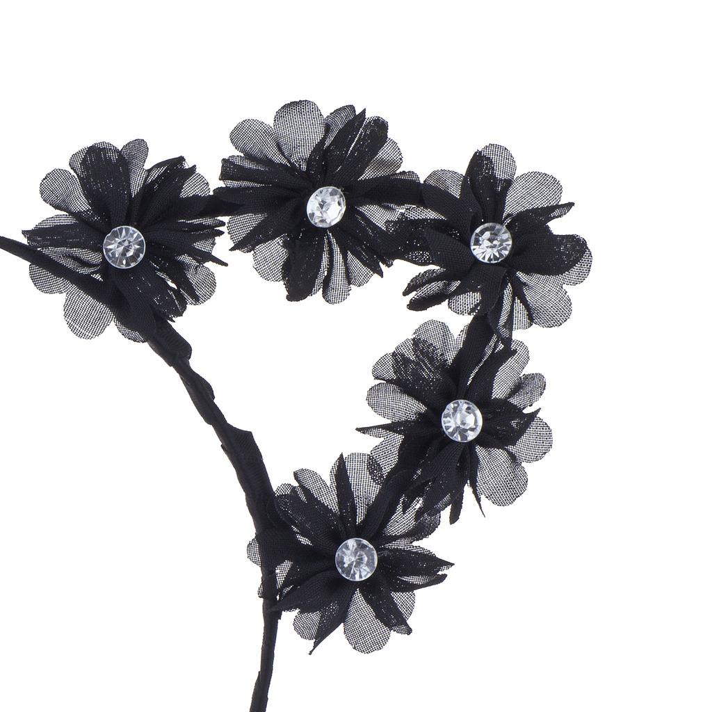 Black Cat Ear Devil Ear Cosplay Flower Crown Headband For Girls