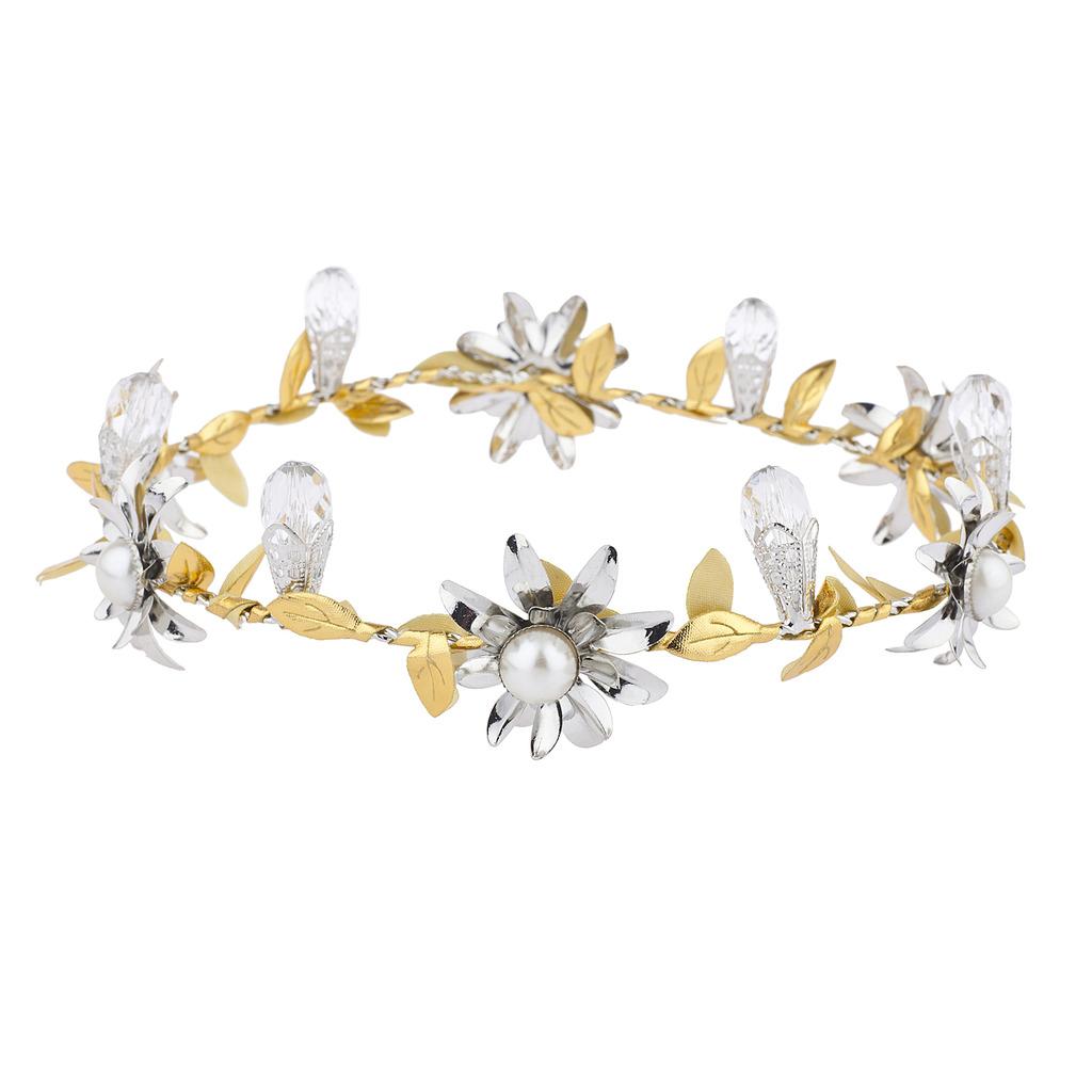 Gold silver tone special occasion bridal coachella flower crown izmirmasajfo
