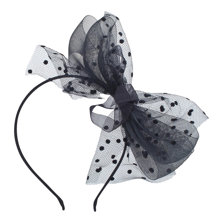 black fishnet bow fascinator headband hair accessories halloween