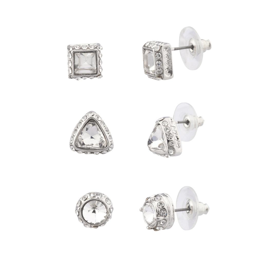 Pave Crystal Circle Triangle Square Stud Earrings Set Bridal