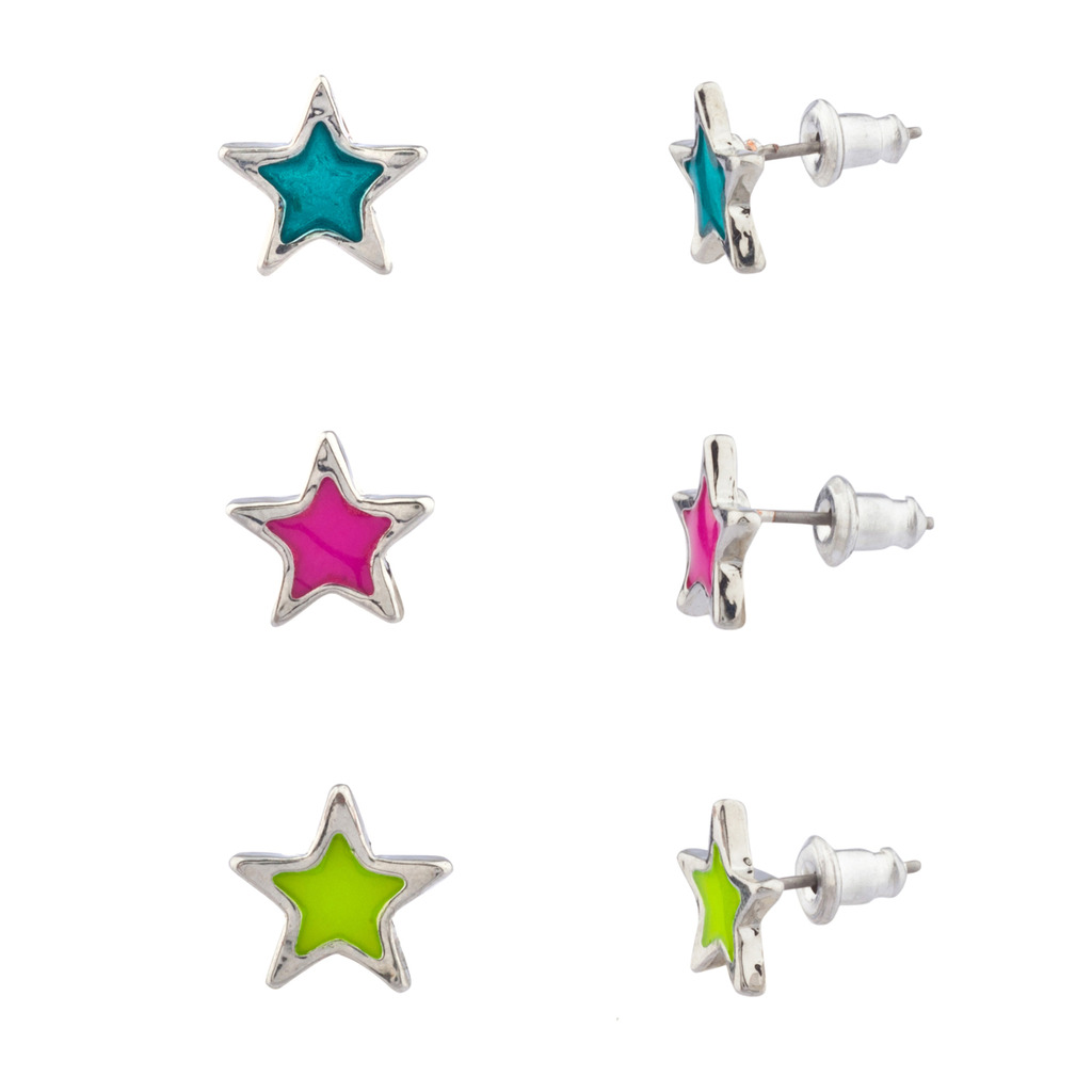 Galaxy Celestial Star Turquoise Pink Lime Green Multiple Stud ...