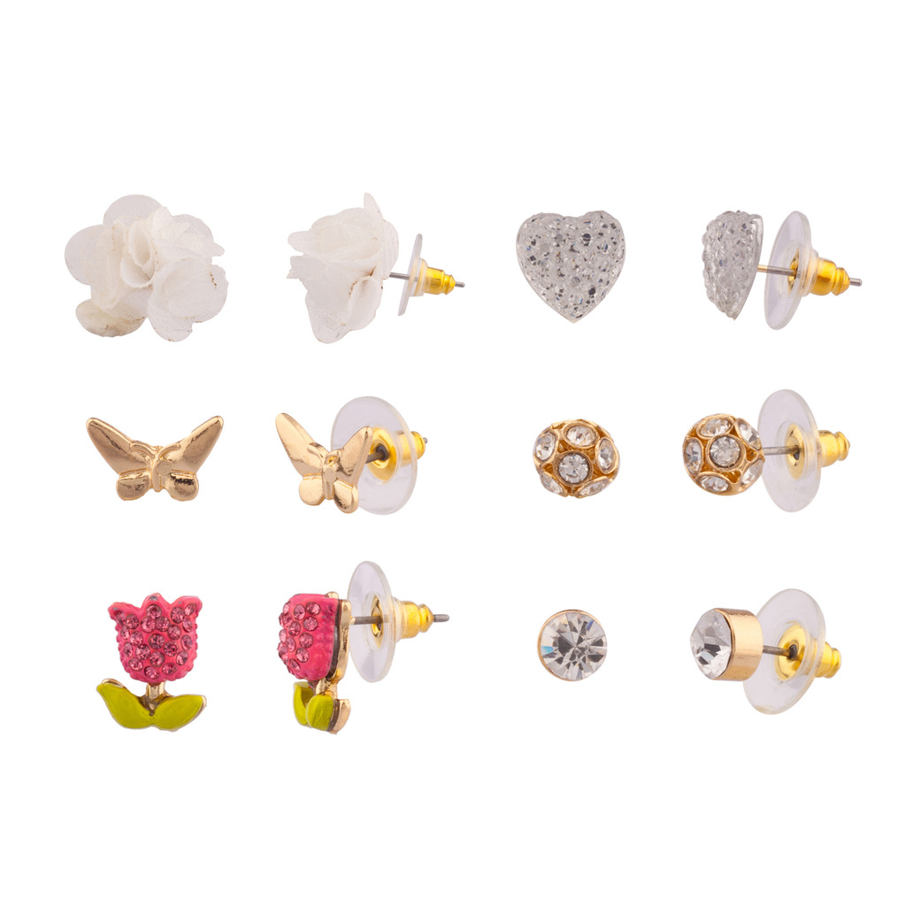 Pave Tulip Butterfly Floral Flower Pave Crystal Heart Multiple ...