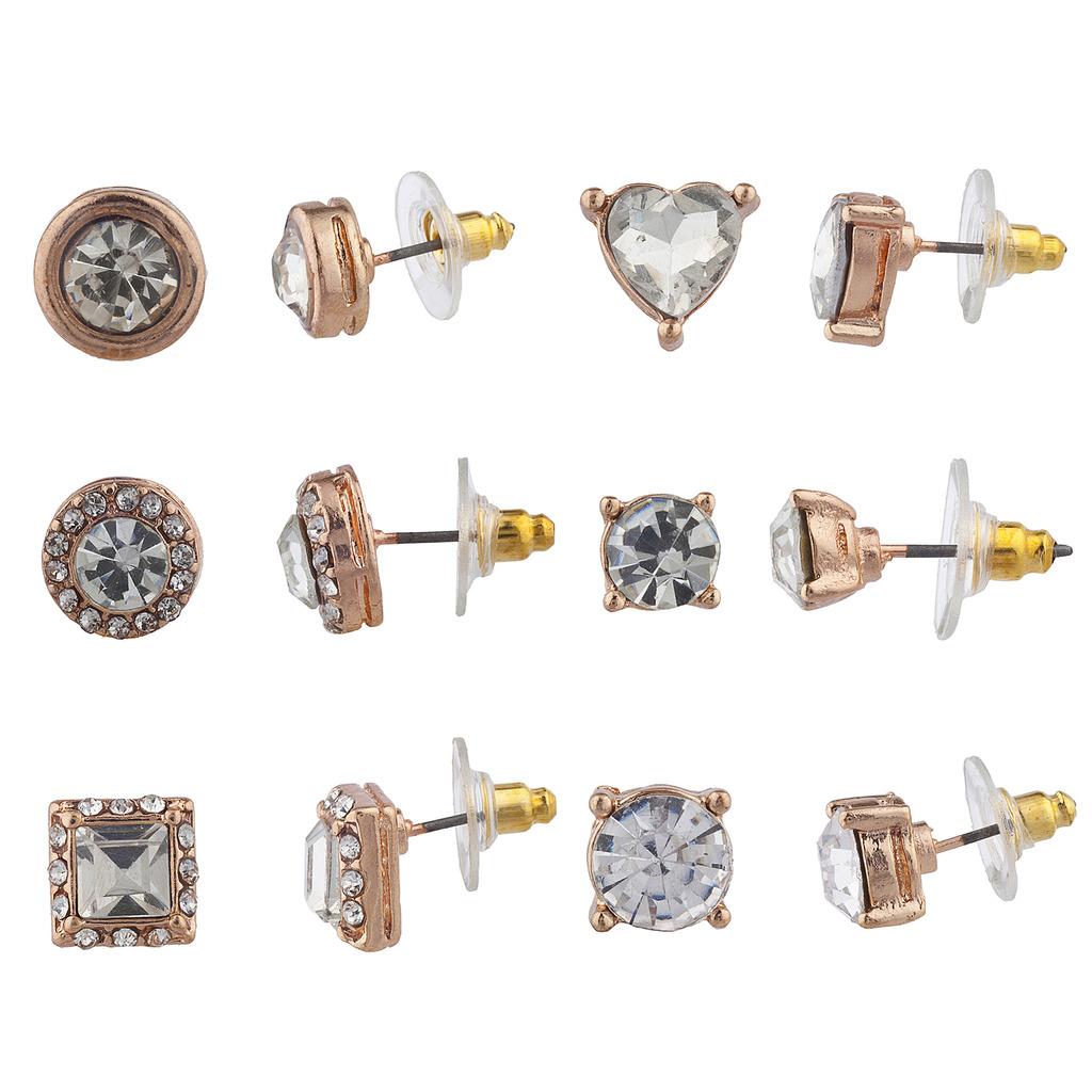 Rose Gold Tone Crystal Rhinestone Multiple Stud Post Earring Set