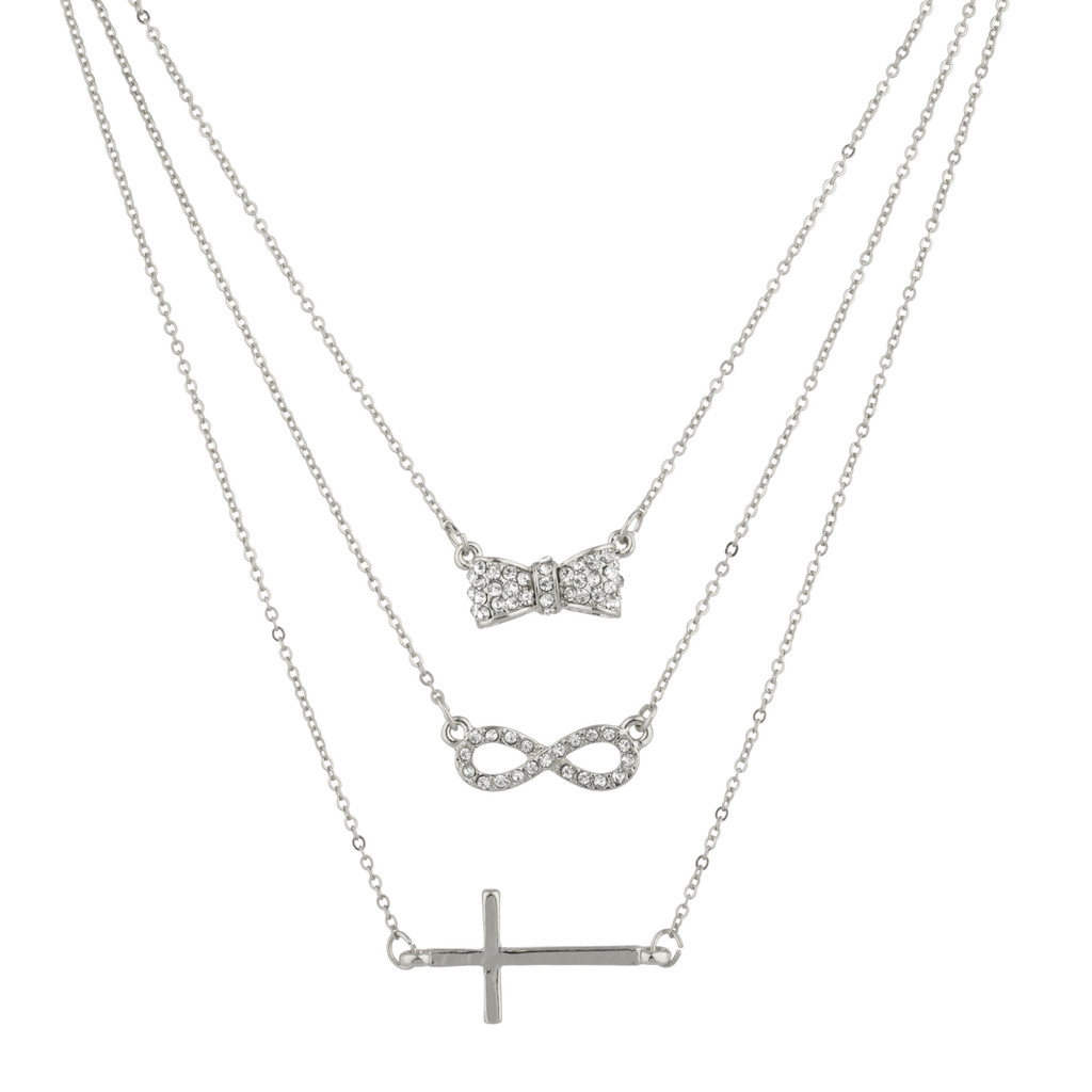 765d84f407637 Pave Bow Infinity Cross Christ BFF Best Friends Forever Necklace Set ...