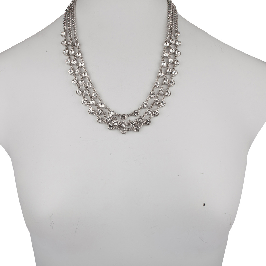 Lux Accessories Pave Crystal Multi Row Chain Bridal Statement Necklace