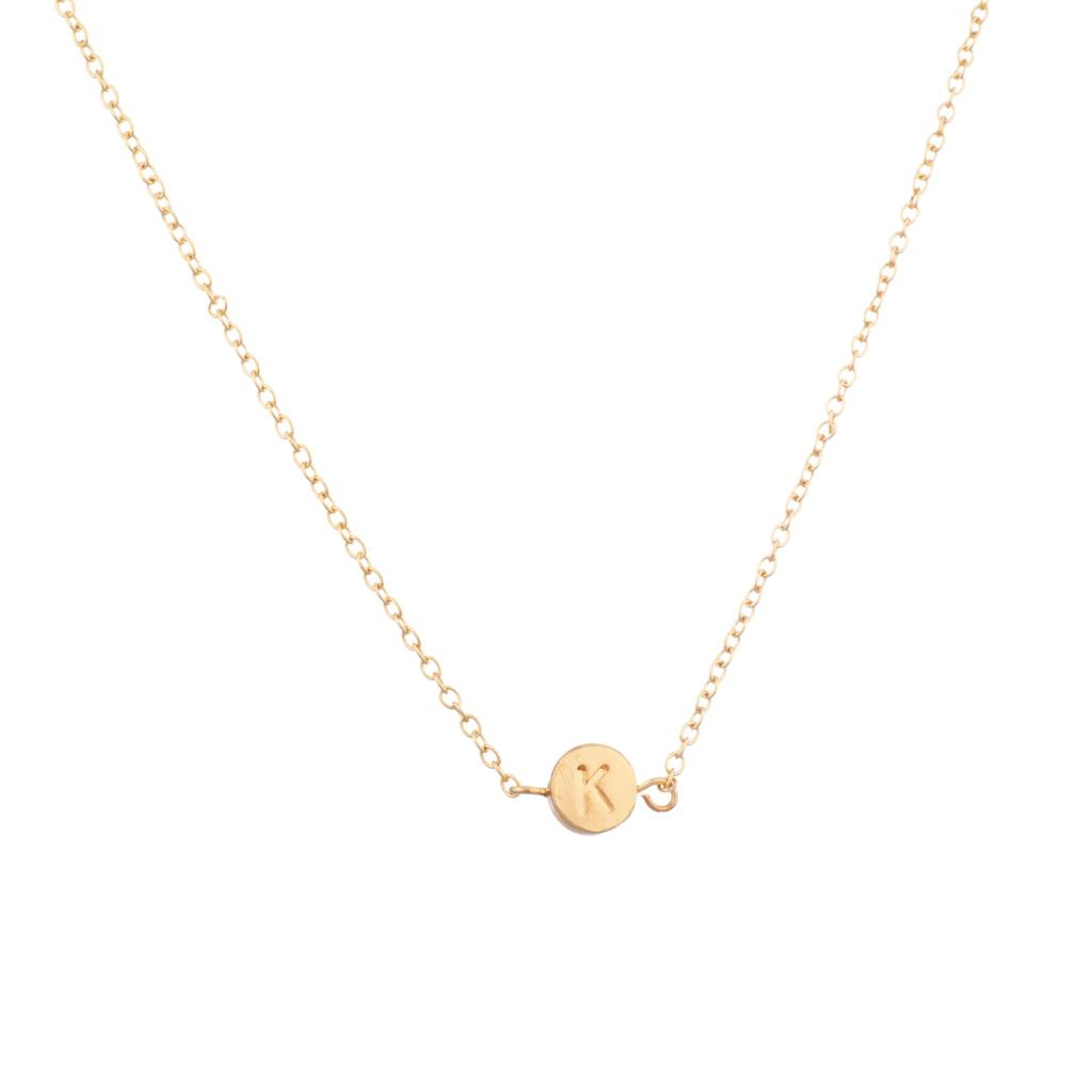 """Lux Accessories Delicate Simple Round  /""""K/"""" Initial Name Pendant Necklace"""