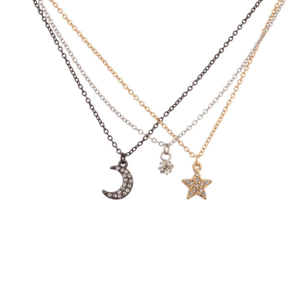 Pave Crystal Galaxy Tri Color Crescent Moon Star Bff Best Friends