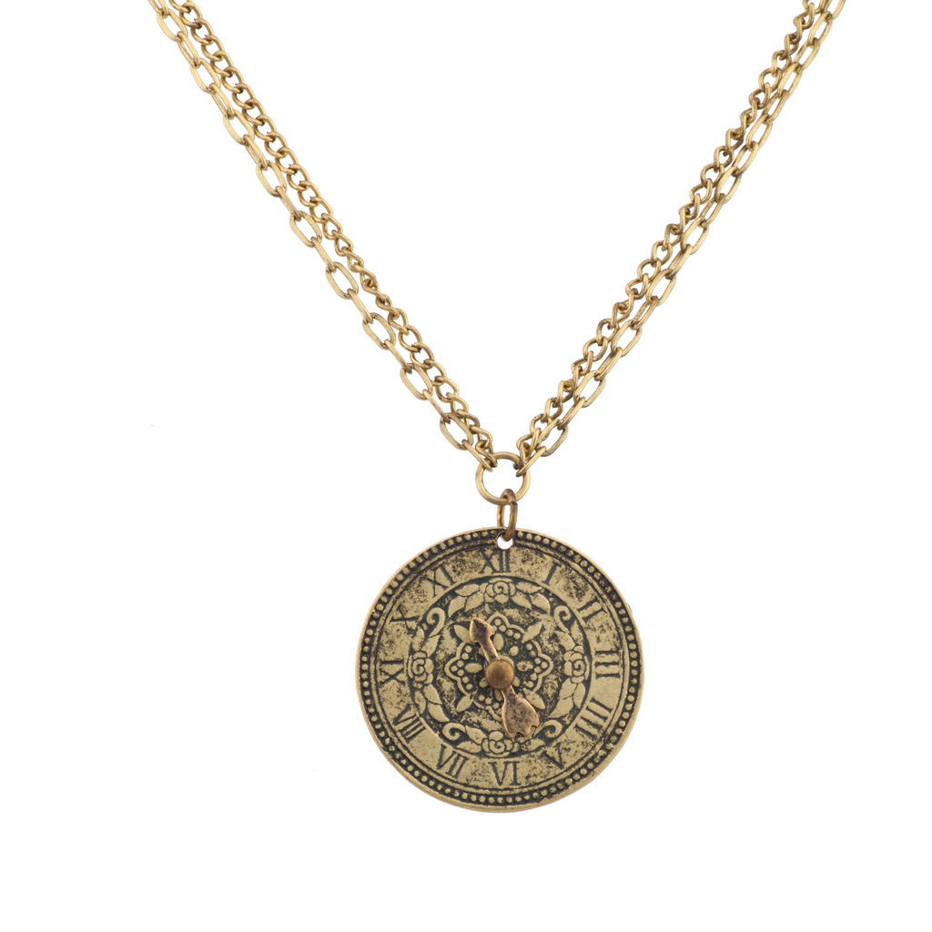 asheville gold products dolce vita necklace antique chic clock