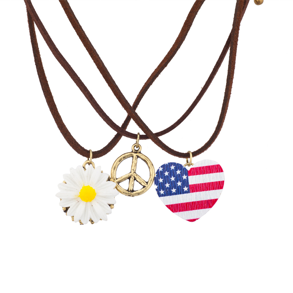 Red White Blue American Flag Peace Sign Floral Flower Sunflower