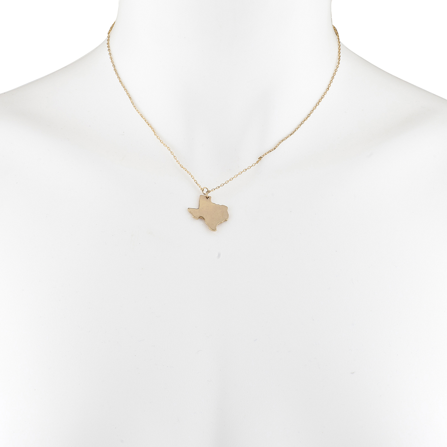 Gold Tone Texas State Shape Map TX Charm Pendant Necklace