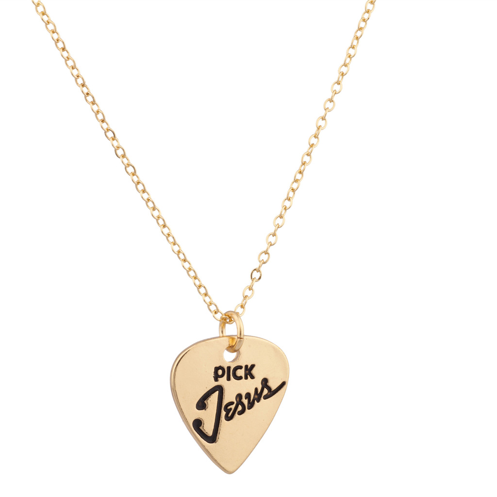 Guitar Pick Jesus Christ Inspiration Pendant Necklace