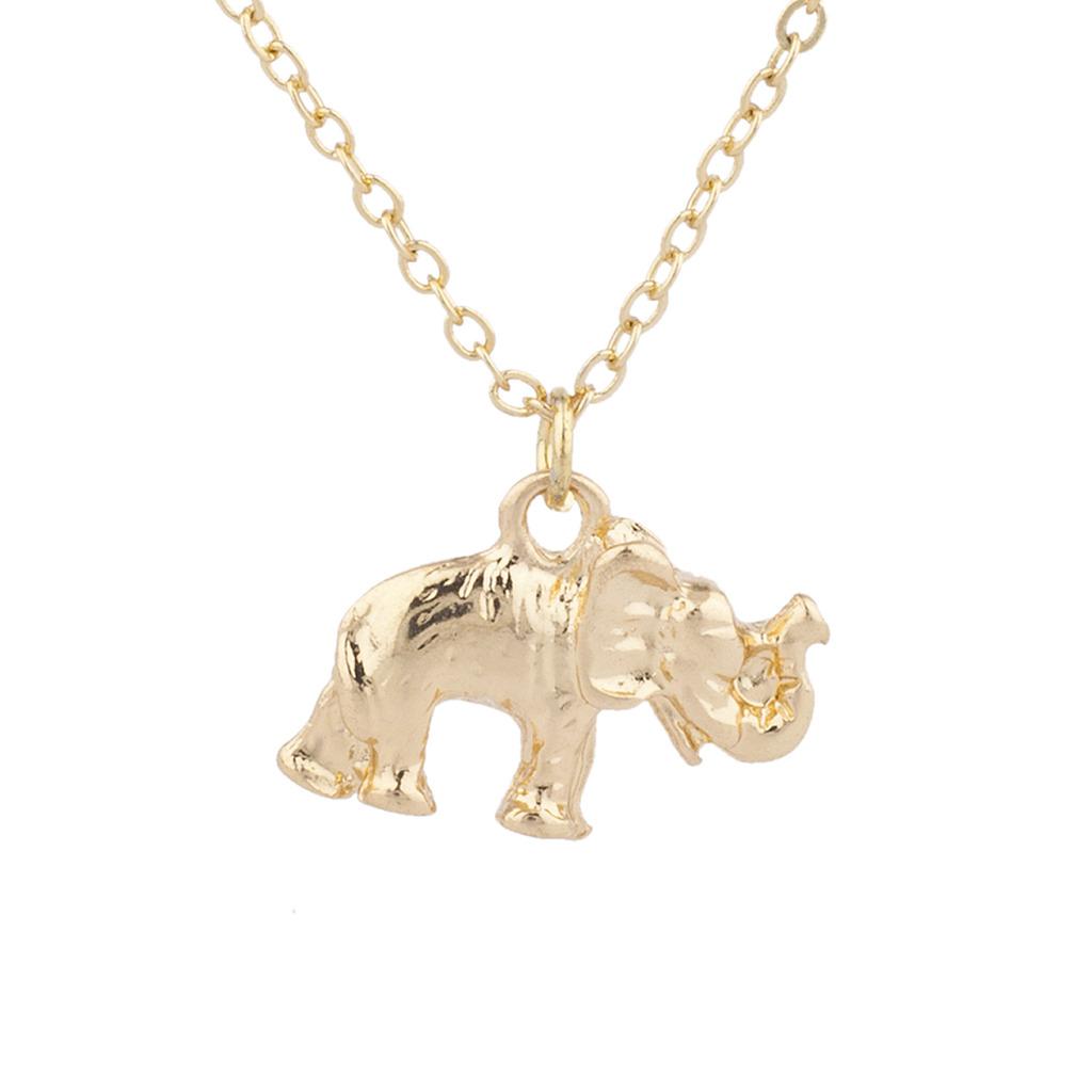 Gold Tone Elephant Good Luck Boho Dainty Charm Pendant Necklace
