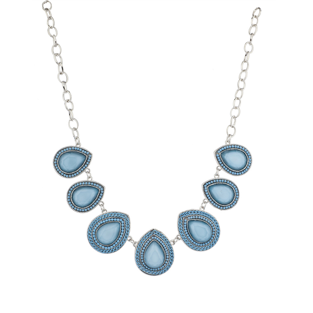 Sky Blue And Silver Tone Teardrop Shape Statement Necklace