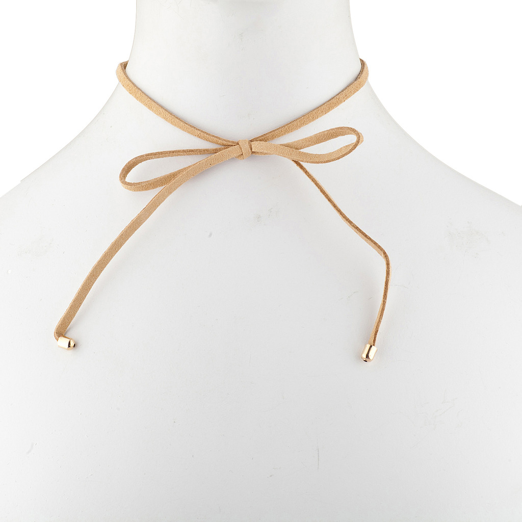 Tan Goldtone Suede Corded Trendy Bow Ribbon Choker Necklace - Necklaces 292aa8b6fbb3