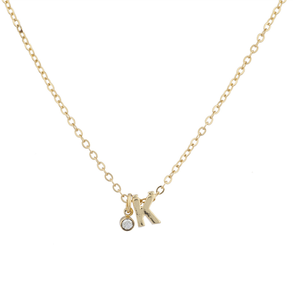 Gold tone personalized k initial charm pendant necklace aloadofball Images