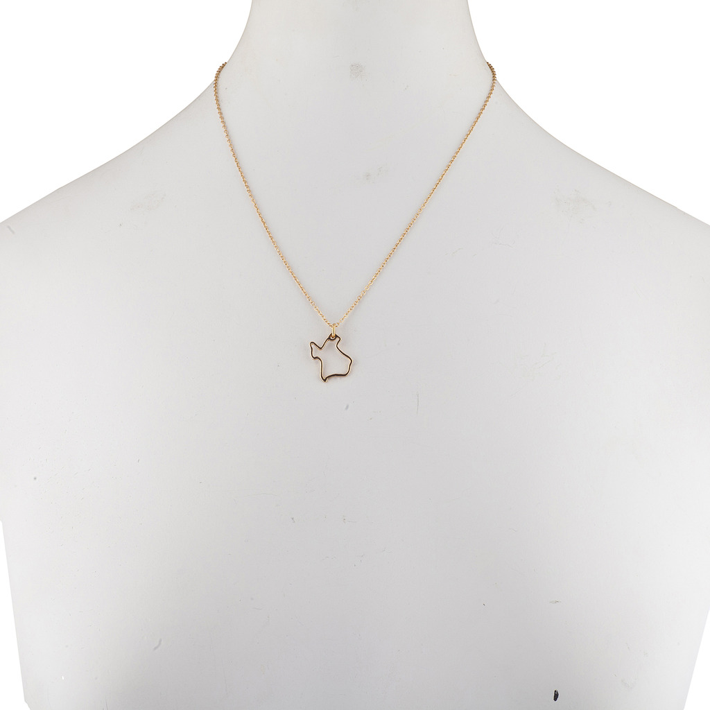 Gold Tone Texas TX State Map Cutout Pendant Necklace - Necklaces