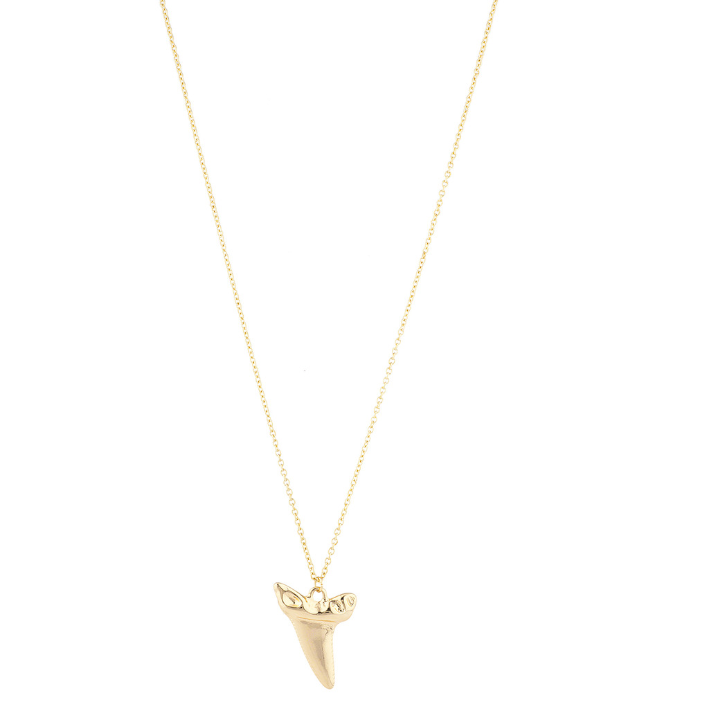 2fa88c4f24b15 Gold Tone Casted Shark Tooth Pendant Necklace